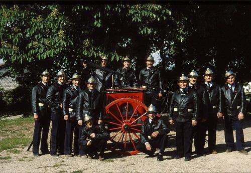 En 1986, pour la photo, on ressort la pompe de 1865